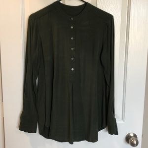 LOFT Tunic Top in Forest Green with Tie Sleeves
